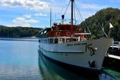 Modesta Victoria. Historical ship Modesta Victoria built in Amsterdam in 1937 to sail the lake Nahuel Huapi, Bariloche, Argentina royalty free stock photos