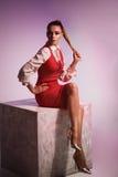Modestudiotrieb der Aufstellung der Frau im roten Kleid auf großem Würfel Stockfotos