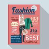 Modetidskrift med tillfälliga kläder Royaltyfri Fotografi