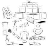 Modetillbehör och makeupuppsättning vektor illustrationer