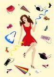 Modetillbehör. Den härliga kvinnan shoppar Arkivbild