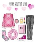 Modeuppsättning av kvinnas kläder, tillbehör och skor - grå grov bomullstvilljeans, ull sticka tröjan, halsduken, smink, - uppsät vektor illustrationer
