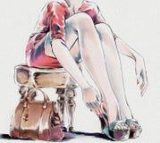 Modevattenfärgillustration Kvinna som tar av henne skor stock illustrationer