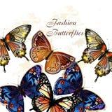 Modevektormodell med fjärilar Royaltyfria Bilder