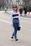 Modewoche streetstyle Herbstwinter 2015 2016 Mailands, Mailand Stockbilder