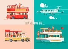 Modi di viaggio Viaggio al mondo in veicoli differenti Viaggi in macchina, in aereo, in barca, su SUV royalty illustrazione gratis