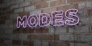 MODI - Insegna al neon d'ardore sulla parete del lavoro in pietra - 3D ha reso l'illustrazione di riserva libera della sovranità illustrazione di stock
