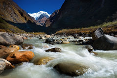Modi Khola river on the way from Deurali to Machapuchare Base Camp ,Nepal. Royalty Free Stock Photo