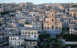 Modica city. View of Modica city on Hyblaean mountainside, Ragusa, Sicily Stock Photos
