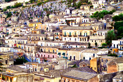 Modica city. On Hyblaean mountainside, Ragusa province, Sicily, Italy Stock Images