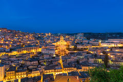 Modica cityscape at blue hour. A panoramic view of Modica, a small beautiful baroque town located in the south east of Sicily Royalty Free Stock Image