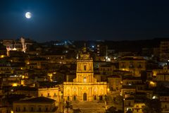 Modica Lighted Up At Night Royalty Free Stock Image