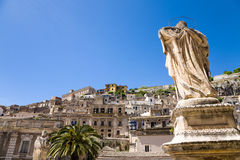 Modica, Sicily. The city of Modica seen from the square in front of the Saint Peter's church, Sicily, Italy Stock Photos