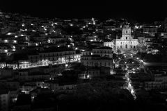 Modica (Sicily) night view b&w Royalty Free Stock Photos