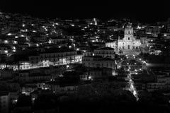 Modica (Sicily) night view b&w Royalty Free Stock Photos