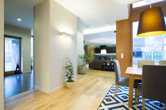 Modieus binnenlands modern huis stock foto's