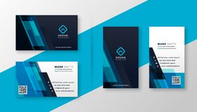 Modieus blauw elegant adreskaartjeontwerp stock illustratie
