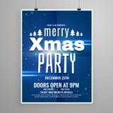 Modieus blauw vrolijk het ontwerpmalplaatje van de Kerstmisvlieger met vakantie stock illustratie