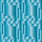 Modieus decoratief naadloos patroon met verschillende geometrische vormen van blauwe metaalgradiënt Royalty-vrije Stock Afbeelding