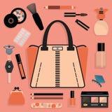 Modieus die vrouwenbeurs en schoonheidsmiddel in roze en koraal wordt geplaatst Royalty-vrije Illustratie