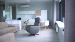 Modieus flatbinnenland met moderne keuken r Modern modieus binnenland van flat stock footage
