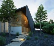 Modieus huis buiten bij dageraad vector illustratie