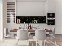 Modieus Huisbinnenland met Open Plankeuken en het Dineren Gebied met goed-gelegde lijst royalty-vrije stock foto