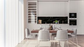Modieus Huisbinnenland met Open Plankeuken en het Dineren Gebied met goed-gelegde lijst royalty-vrije stock foto's