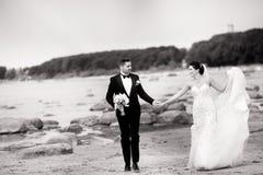 Modieus huwelijkspaar die zich op overzeese kust bevinden De jonggehuwden lopen door het overzees Rebecca 36 stock afbeelding