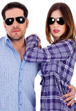 Modieus jong paar in actie Stock Foto's