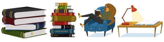 Modieus jong wijfje die een open boek lezen De minnaar van literatuur zit op de stoel Stapel encyclopedie?n en omgekeerd vector illustratie