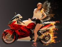 Modieus meisje op moderne rode motorfiets Stock Fotografie