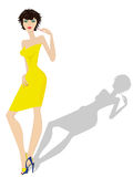 Modieus model die nieuwe kleren vertegenwoordigen Royalty-vrije Stock Afbeelding