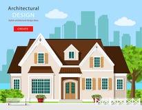Modieus modern grafisch plattelandshuisjehuis Vlakke stijl vectorillustratie Reeks met de bouw, stadsachtergrond, bank, boom en b stock illustratie