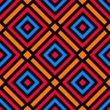 Modieus naadloos patroon met decoratief ornament van blauwe, oranje, rode, en zwarte schaduwen Stock Foto