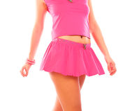 Modieus sexy meisje in roze kleding Stock Afbeelding