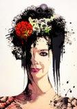 Modieus Surreal Portret van een meisje Stock Afbeeldingen