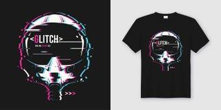 Modieus t-shirt en kledings in ontwerp met glitchy vlucht hij stock illustratie
