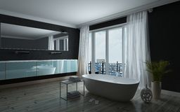 Modieus zwart-wit badkamersbinnenland Stock Foto's