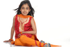 Modieuze 7 jaar oud meisjes Stock Fotografie