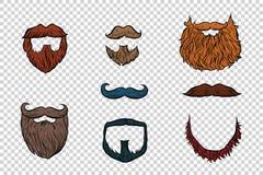 Modieuze baard en snor vastgestelde inzameling vector illustratie