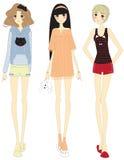 Modieuze beeldverhaalmeisjes met leuke kledingsreeks Stock Fotografie