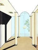 Modieuze binnenlandse bureauruimte met glasverdeling Stock Foto's