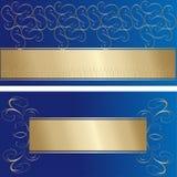 Modieuze blauwe en gouden groetkaarten Stock Fotografie