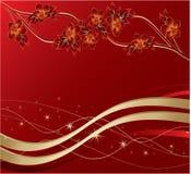 Modieuze bloemen en bladeren op een rode achtergrond Stock Afbeeldingen