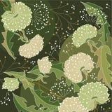 Modieuze bloemen groene achtergrond Stock Foto's