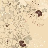Modieuze bloemen lichte beige achtergrond Stock Afbeeldingen