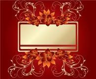 Modieuze bloemen op rode achtergrond Stock Fotografie