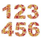 Modieuze cijfers met kruidenornament Mooie aantallen Royalty-vrije Stock Foto's