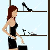 Modieuze Dame Shopping stock illustratie